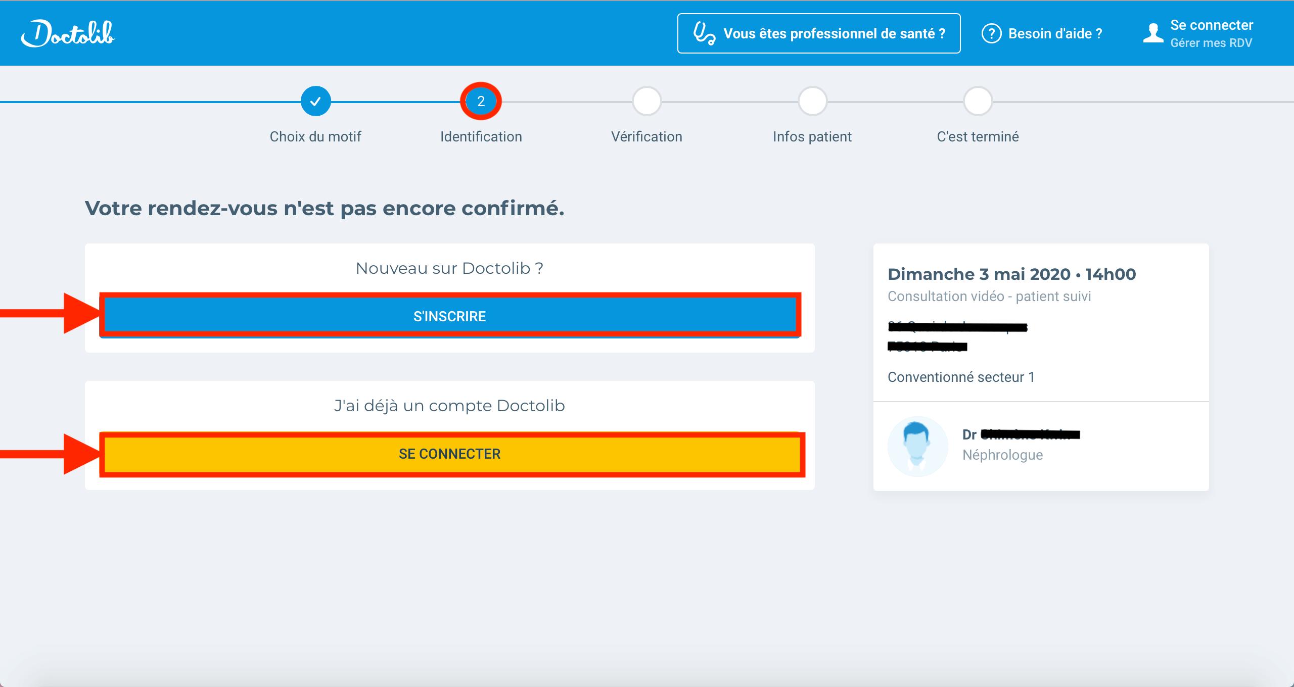 inscription ou connexion à un compte Doctolib