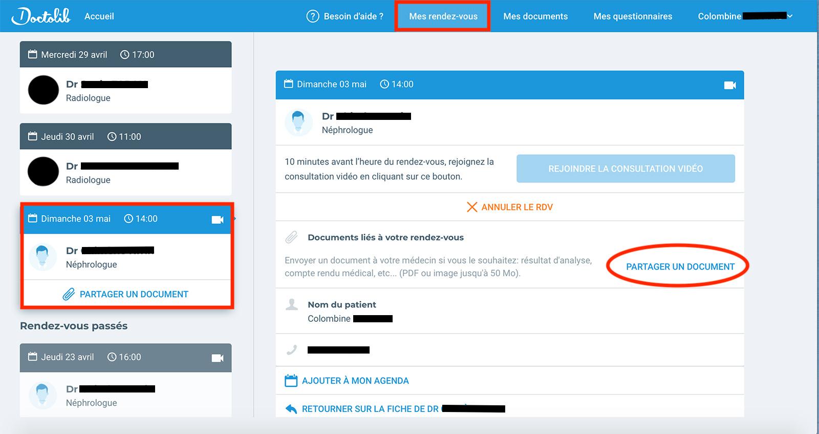 bouton de partage de documents
