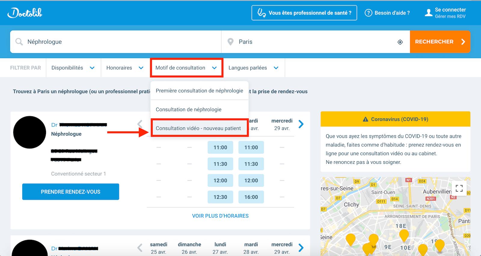 page de filtre de consultation